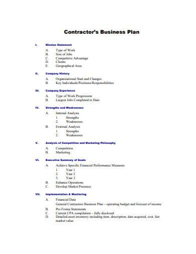 contractor business plan sample1