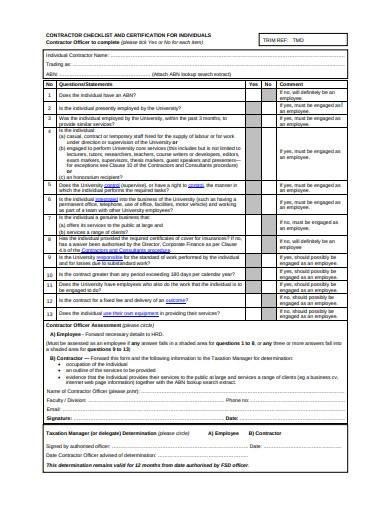 contractor checklist example