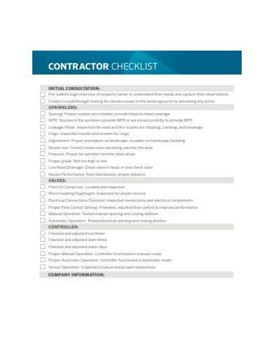 contractor checklist sample