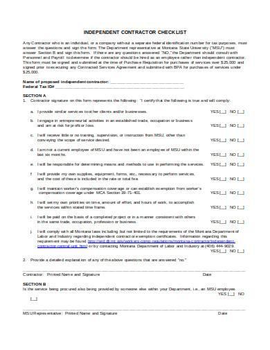 contractor checklist in doc