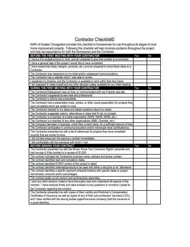 contractor checklist in pdf