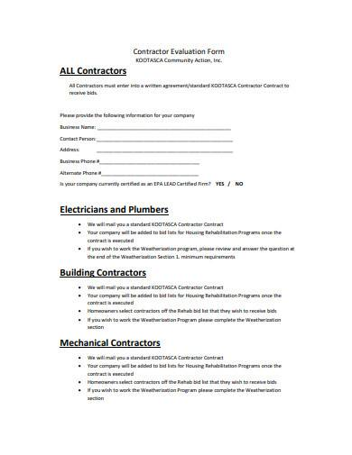 contractor evaluation form template