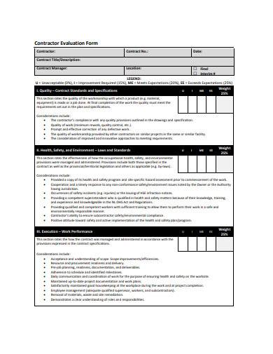 contractor evaluation form in pdf