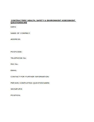 contractor health safety and environment assessment questionnaire