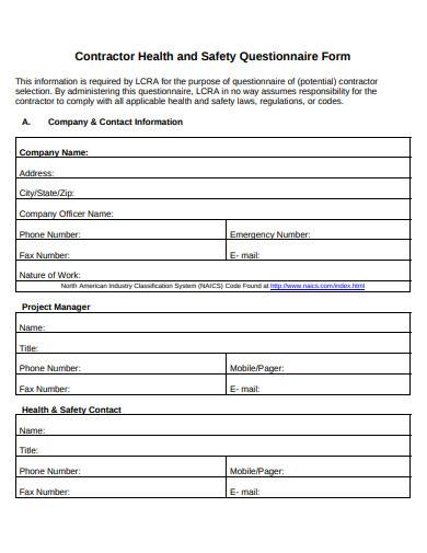 contractor health and safety questionnaire form