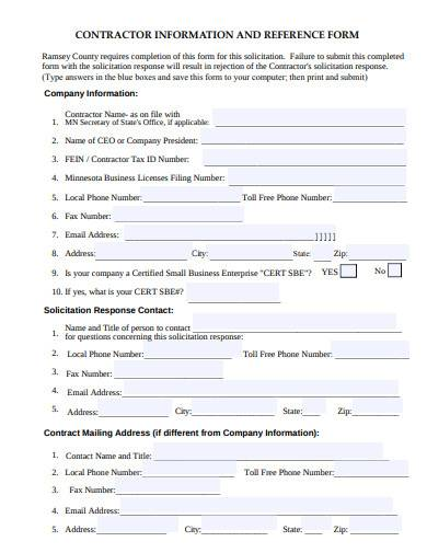 contractor information and reference form