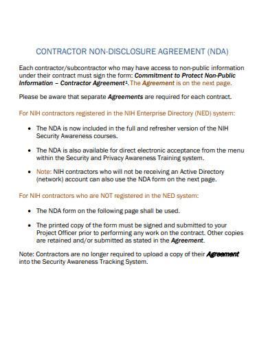 contractor non disclosure agreement sample