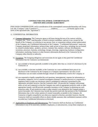 contractor non disclosure agreement in pdf