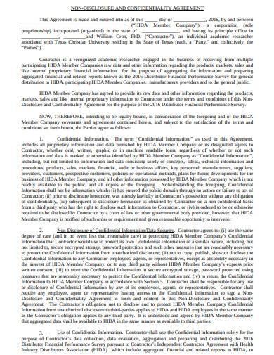 contractor non disclosure confidentiality agreement