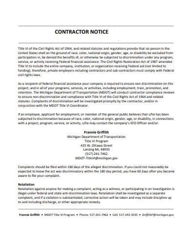 contractor notice