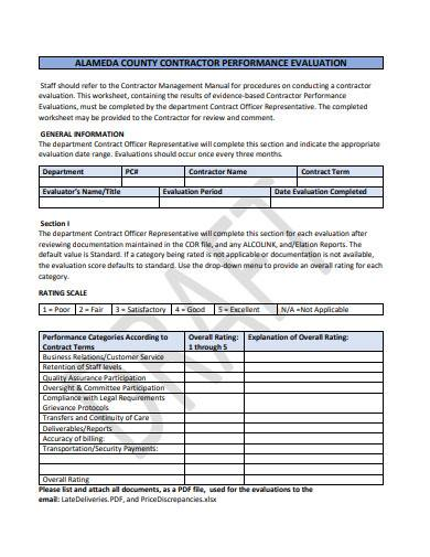 contractor performance evaluation in pdf