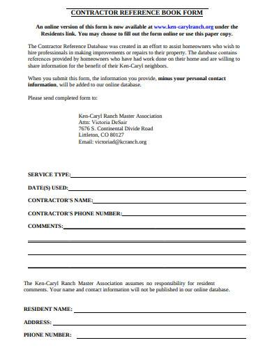 contractor reference book form