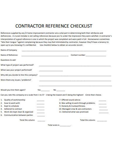 contractor reference checklist