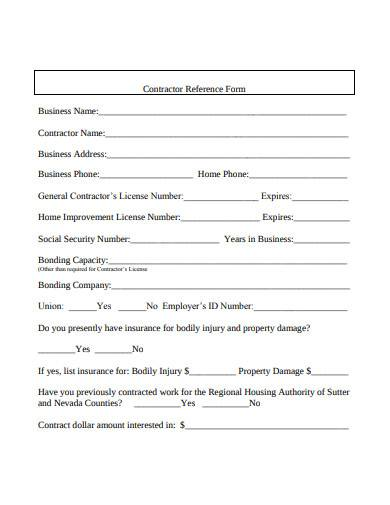 contractor reference form