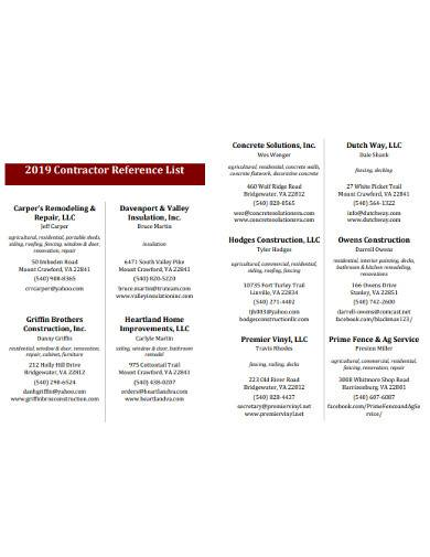 contractor reference list