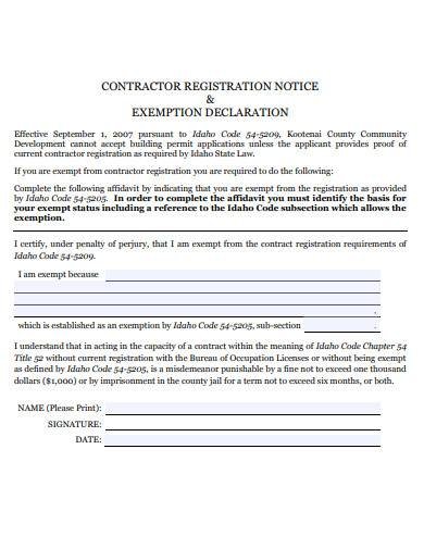 contractor registration notice