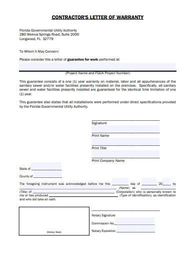 contractors letter of warranty
