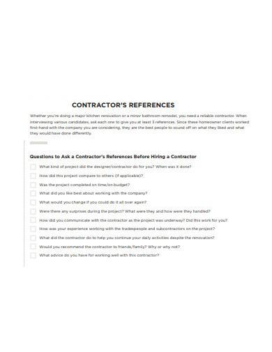 contractors references