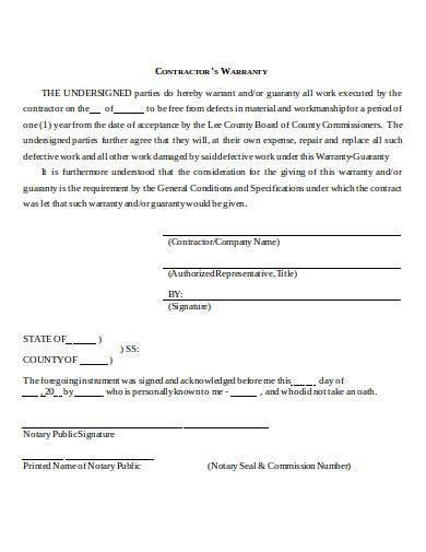 contractors warranty in doc
