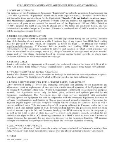 copier full service maintenance agreement sample