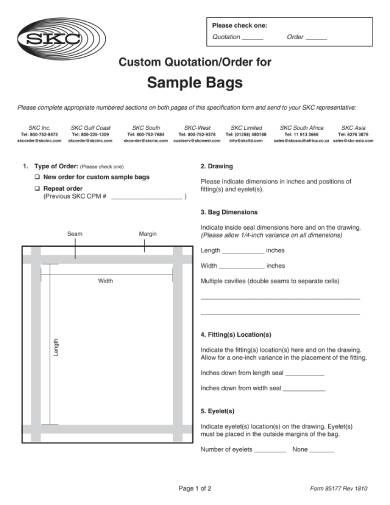 custom bags business quotation template