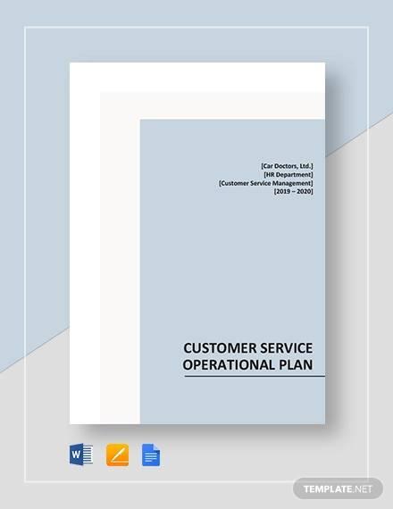 customer service operational plan template