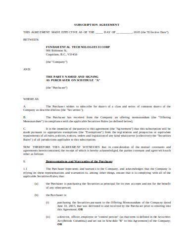 editable subscription agreement template