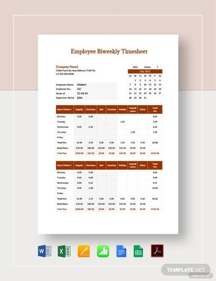 employee bi weekly timesheet template