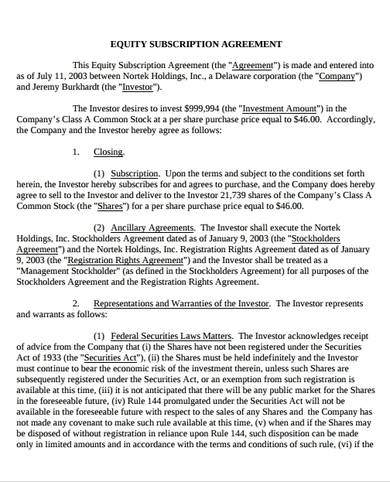 equity subscription agreement sample 1