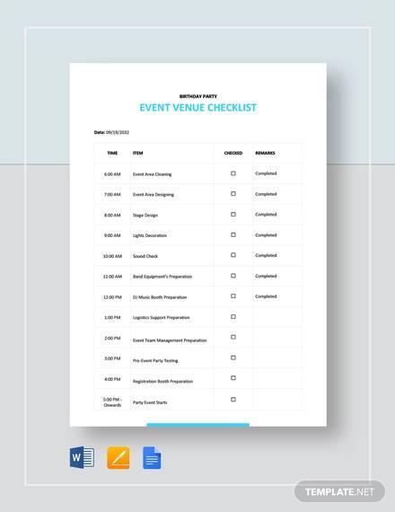 event venue checklist template