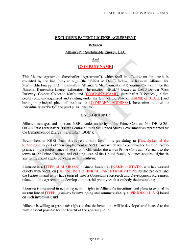 exclusive patent license agreement