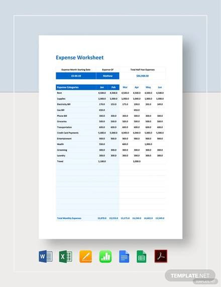 expense worksheet template1