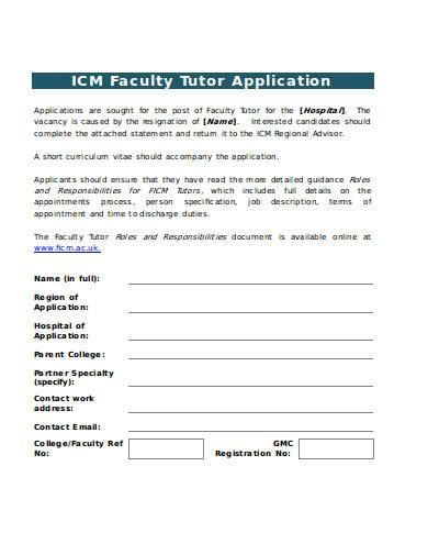 faculty tutor application