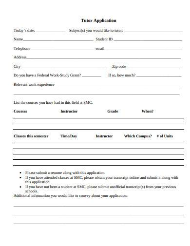 formal tutor application