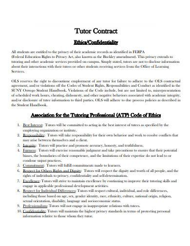 formal tutor employment contract template