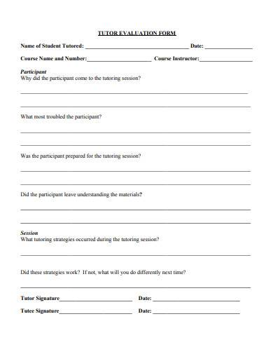 formal tutor evaluation form