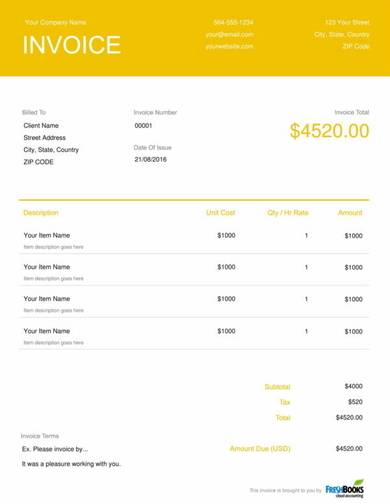 free event planner invoice template