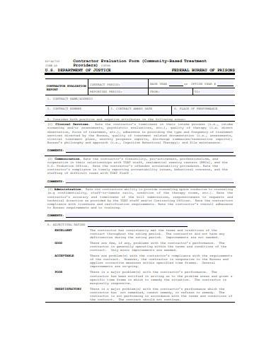 general contractor evaluation form sample