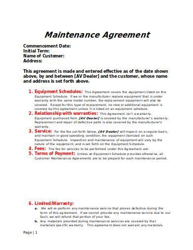 general maintenance agreement template