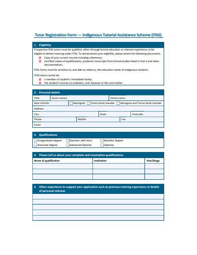 general tutor registration form example