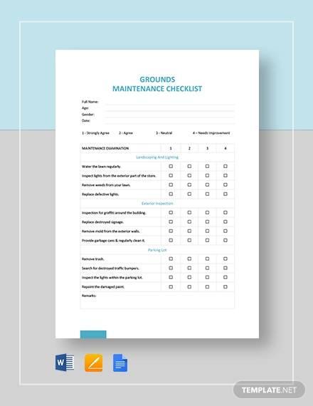 grounds maintenance checklist template