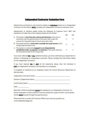 independent contractor evaluation form