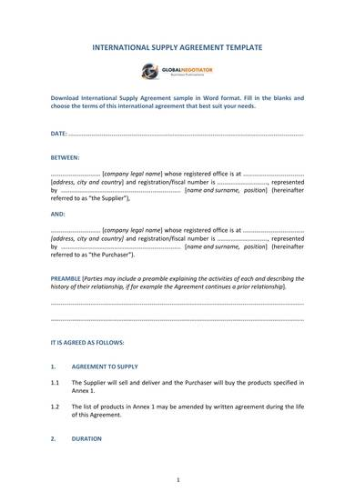 international supply agreement sample template