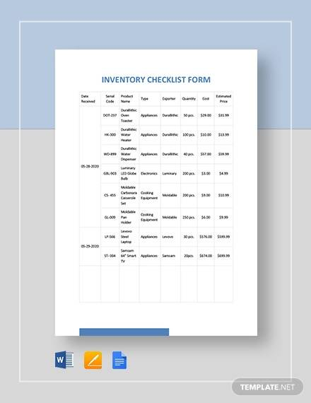 inventory checklist form template
