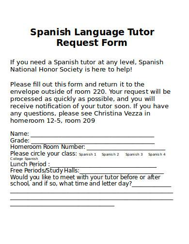 language tutor request form in doc