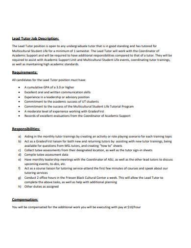 lead tutor job description example