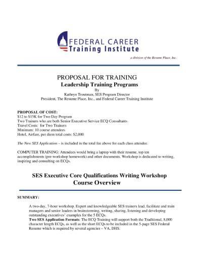 leadership training proposal sample
