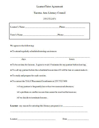 learner tutor agreement