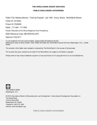 mastercraftsmen training proposal sample