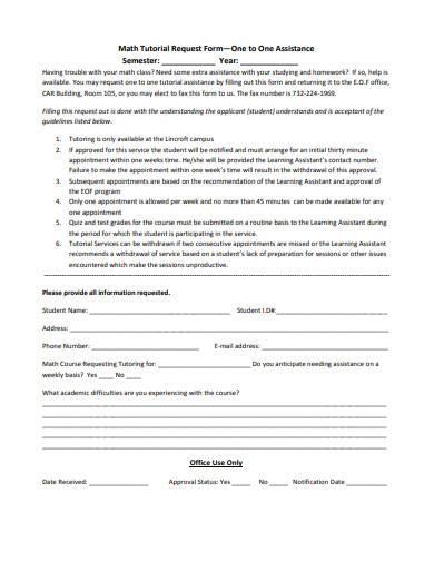 math tutorial request form